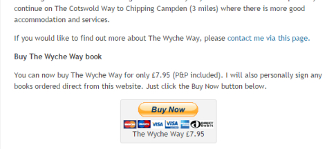 Example of a Buy Now button on a blog